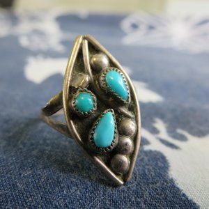 Old Pawn Sterling Silver Turquoise Flower Ring